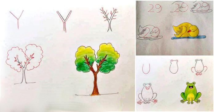 Un simpatico modo per insegnare ai tuoi figli a disegnare con l'aiuto di numeri e lettere.