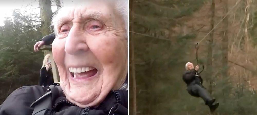 Un vecchietto festeggia il suo 106° compleanno facendo un volo appeso ad un cavo d'acciaio sulla zip-line