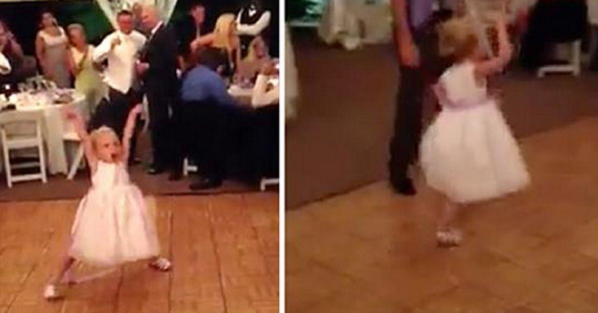 Damigella ruba la scena alla sposa con i suoi movimenti ma quando la canzone cambia tutti restano estasiati