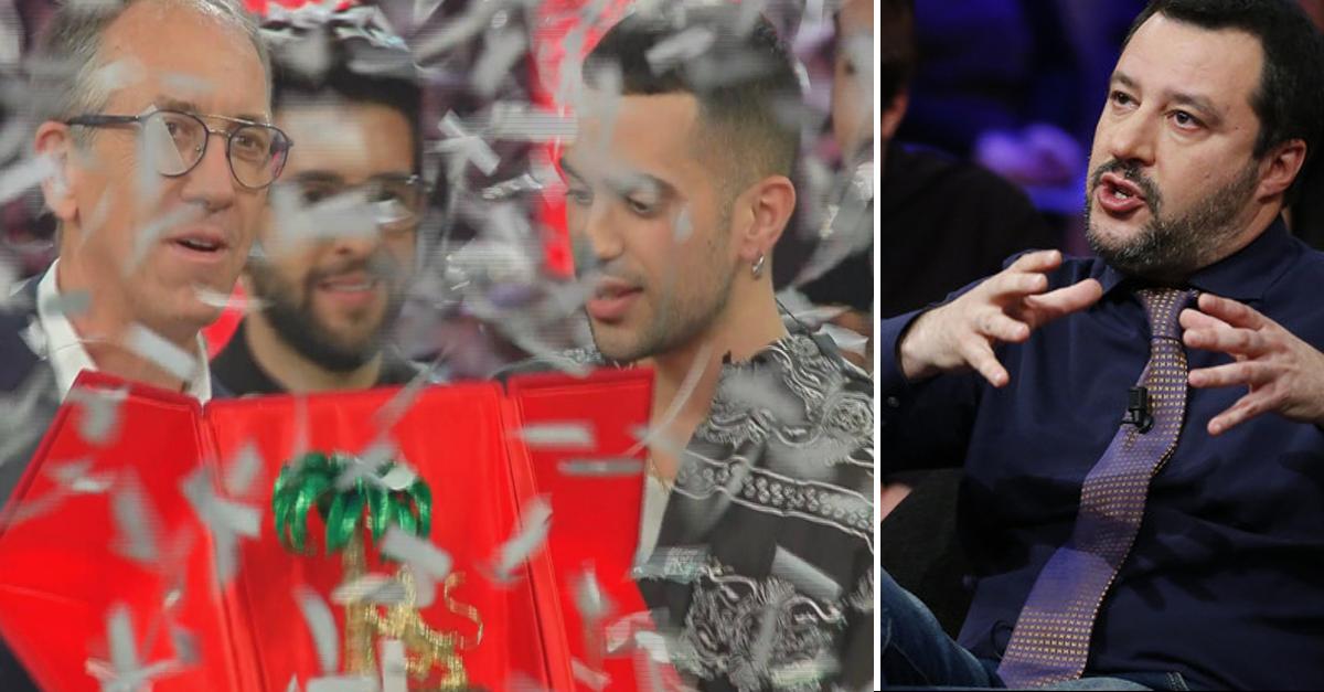 Salvini ci rimane male, deluso dal vincitore di Sanremo 2019, scrive un post sul Web