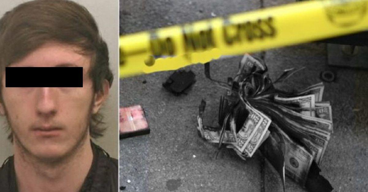 Il ladro da un'occhiata al contenuto del portafogli appena rubato, dopo decide di consegnarsi alla polizia