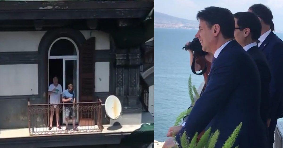 Il surreale dialogo in balcone tra il Premier Conte e un uomo in mutande