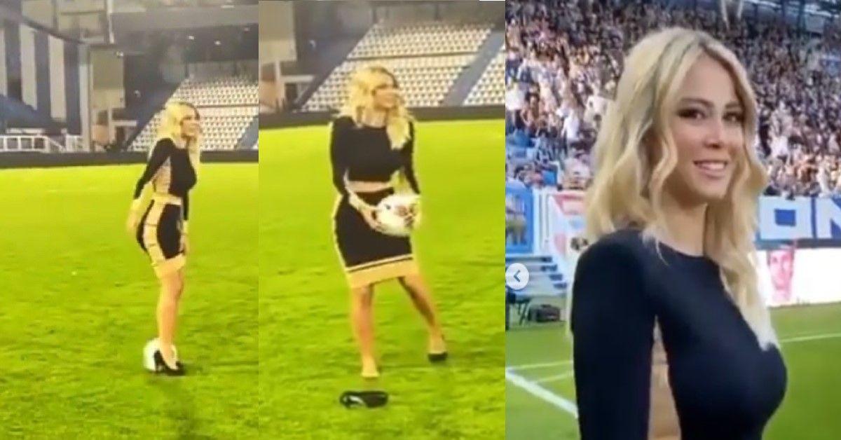 Diletta Leotta in campo, il suo palleggio sui tacchi ha fatto impazzire i fan.  VIDEO