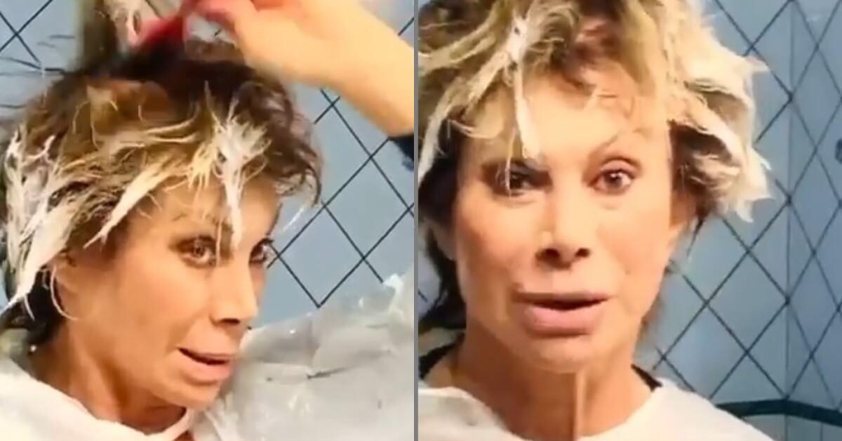 Si appresta a farsi i capelli in casa e documenta tutto. Ecco cosa ha combinato in casa Carmen Russo.