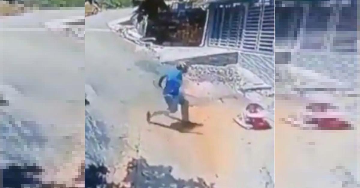 Supereroe della vita reale: salta giù dalla sua moto e salva un bimbo che rotola per strada [VIDEO]