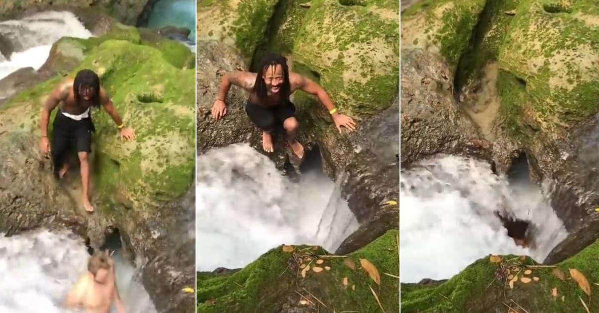 Due turisti nella giungla 'scompaiono' nella cascata per finire all'interno di una grotta [VIDEO]