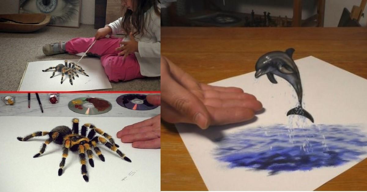 13 straordinari disegni 3D che sembrano uscire dal foglio