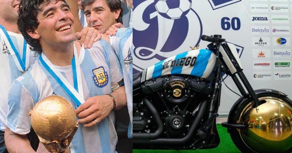 """La moto di Maradona """"Yo soy el diego"""" sapete quanto vale?  E' un Harley Davidson Fat Bob 107 molto particolare"""