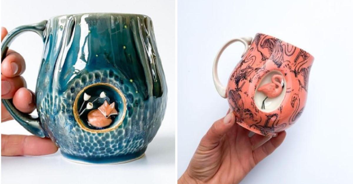 11 stravaganti tazze in ceramica nascondono in un lato delle piccole sculture di animali