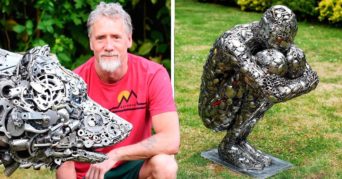 L'artista raccoglie rottami metallici e li trasforma in bellissime sculture in metallo (22 Foto)