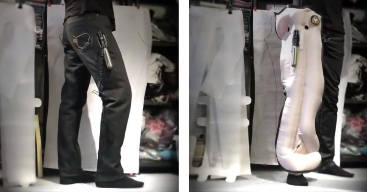 I prototipi dei pantaloni con airbag incorporati, per proteggere i motociclisti