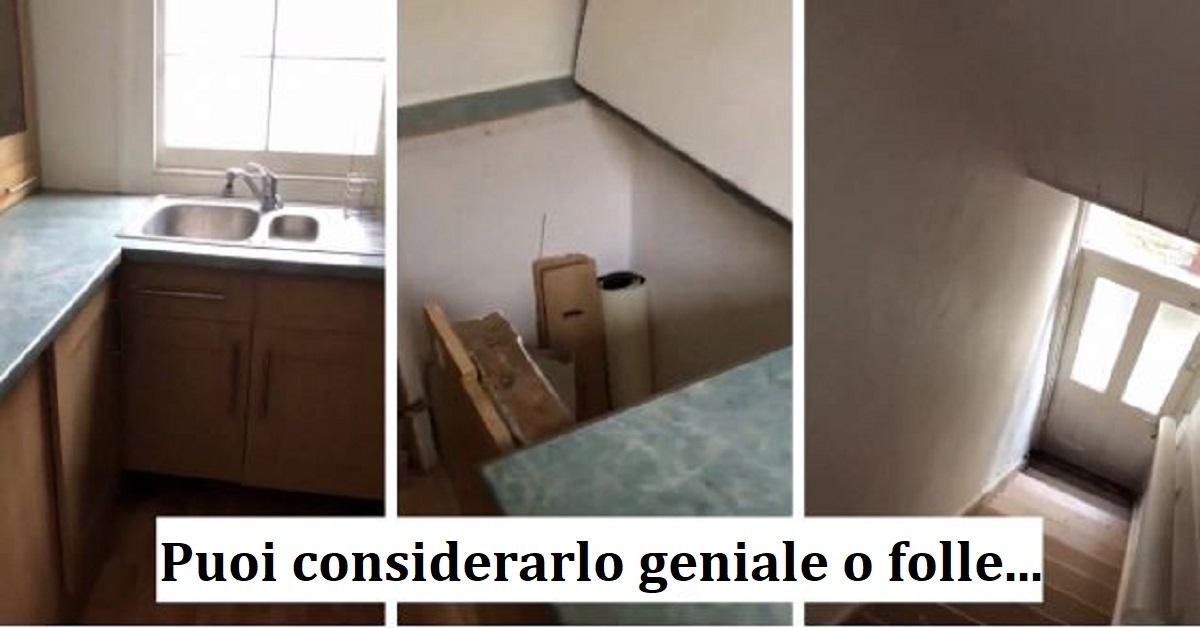 Visita un appartamento e trova in cucina una porta segreta con le scale. Sui social il video ha inquietato gli utenti