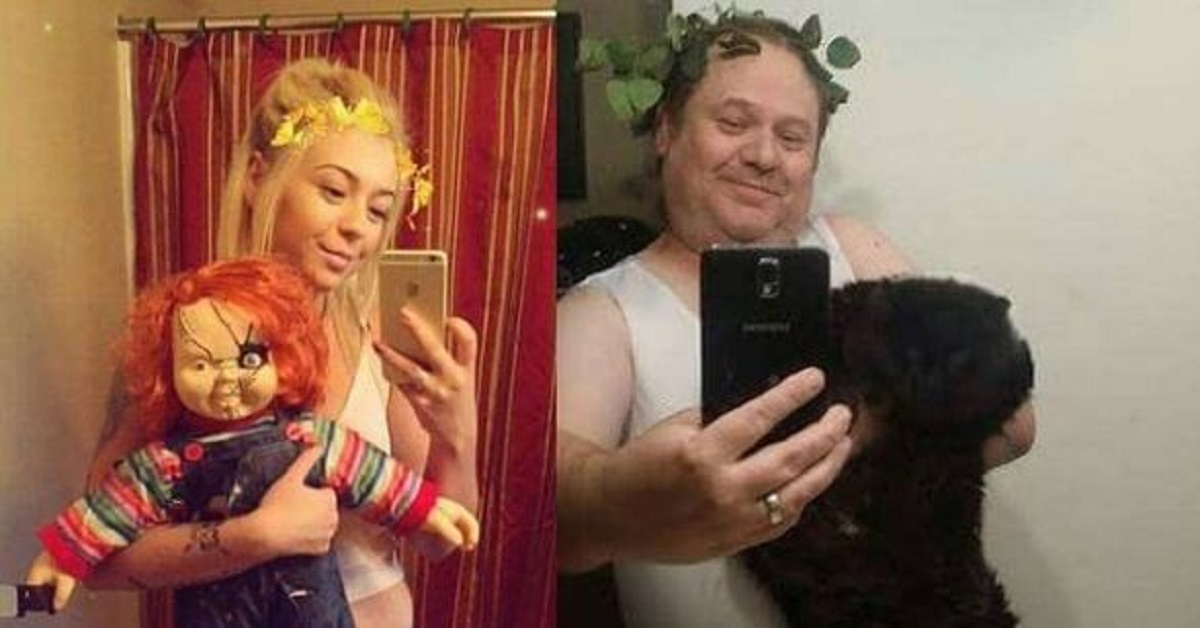 11 foto da ridere di un papà che imita in maniera divertente i selfie della figlia