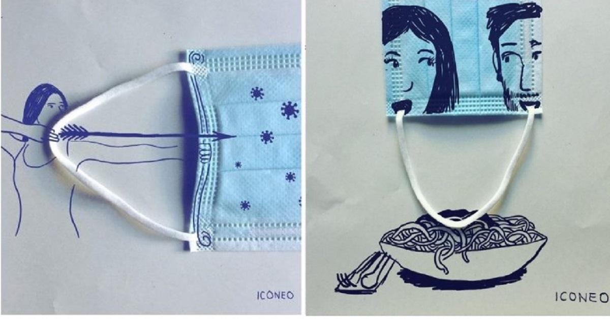 Utilizza le maschere protettive per fare arte, i suoi disegni umoristici e commoventi stanno facendo il giro dei social