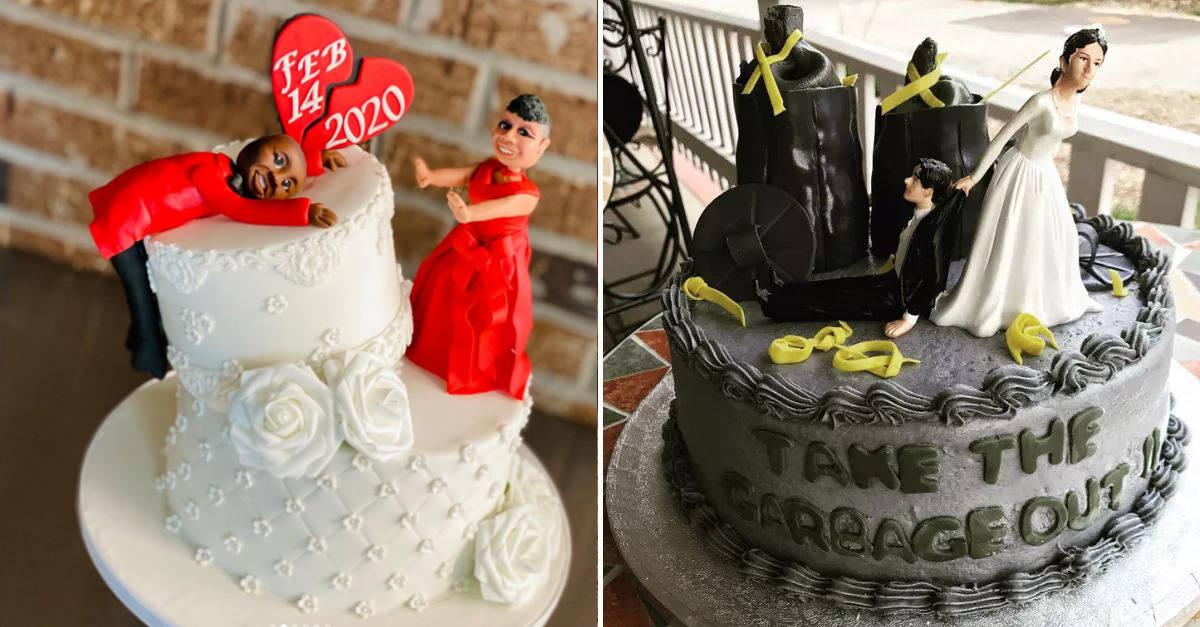 """14 Foto divertenti di """"torte di divorzio"""" di donne che festeggiano la fine del loro matrimonio"""