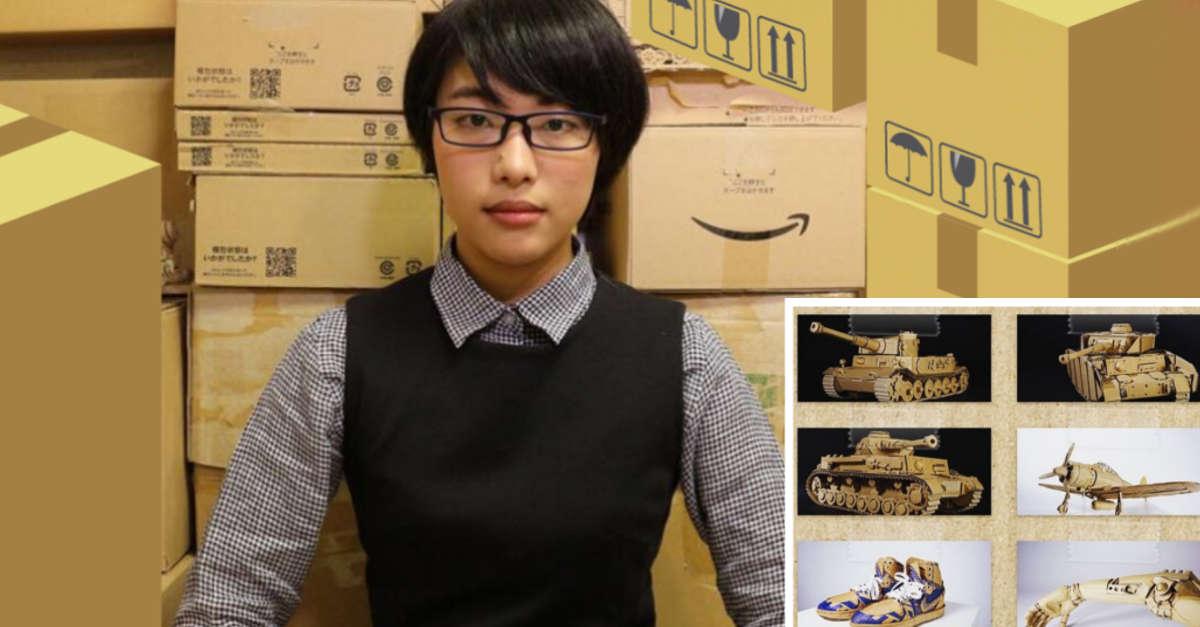 Questa artista giapponese trasforma le scatole di cartone di Amazon in vere e proprie opere d'arte