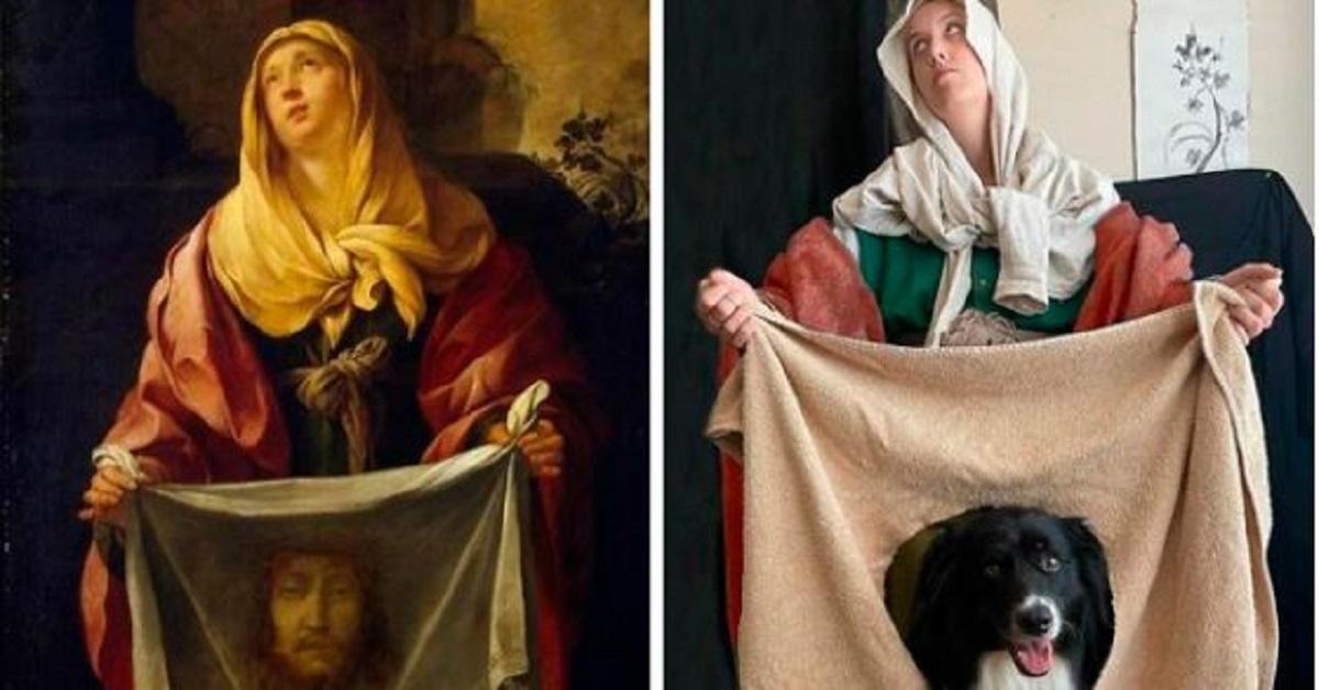 15 dipinti famosi ricreati da un'artista e il suo cane. Il risultato è incredibilmente divertente