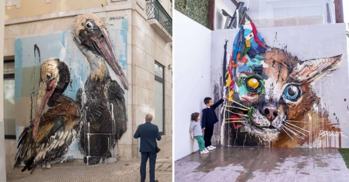 15 Opere d'arte realizzate con spazzatura che danno un tocco originale agli ambienti urbani