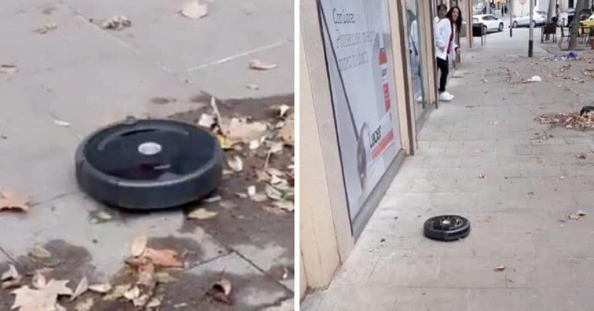 Passante ritrova un robot fuggito da casa che aspira le foglie in strada: il video fa il giro dei social