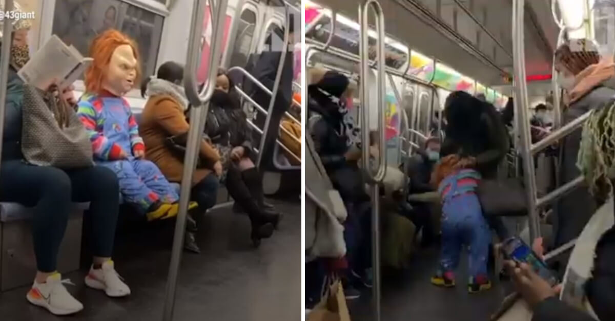 Una bambola Chucky attacca senza pietà le persone che non indossano la mascherina in metro