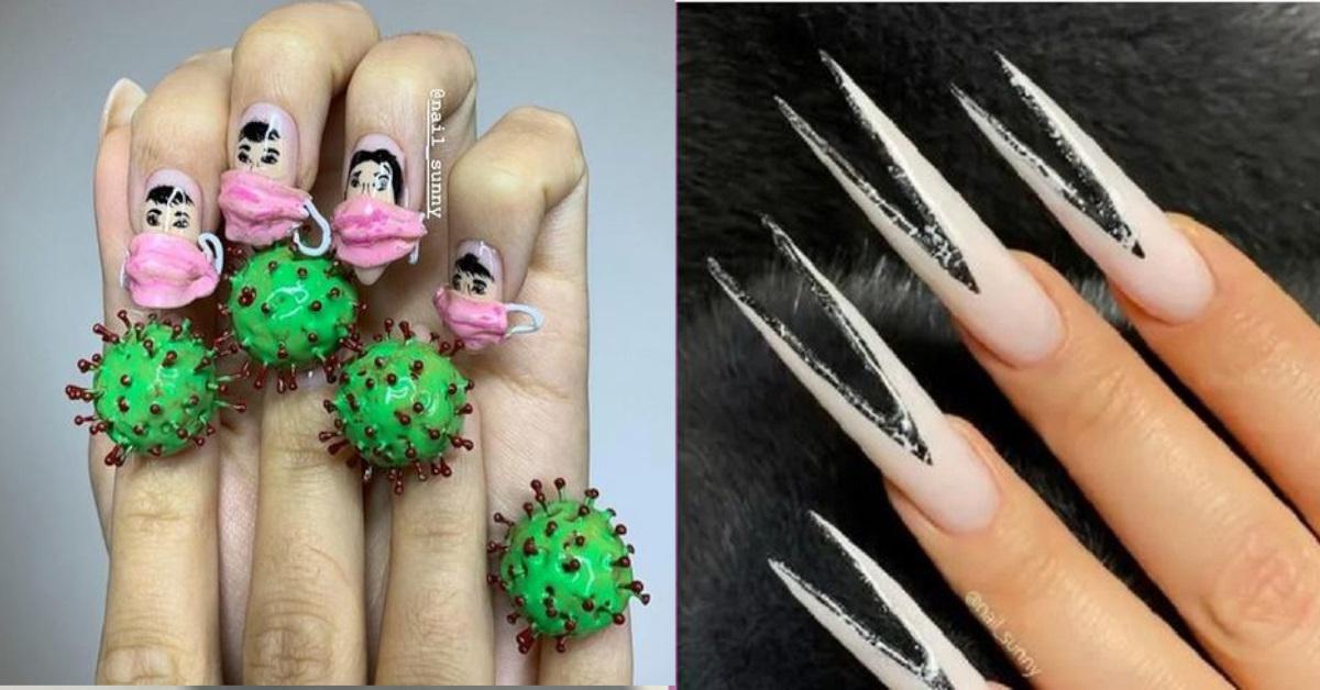 13 esempi di unghie decorate in modo bizzarro, non proprio di buon gusto