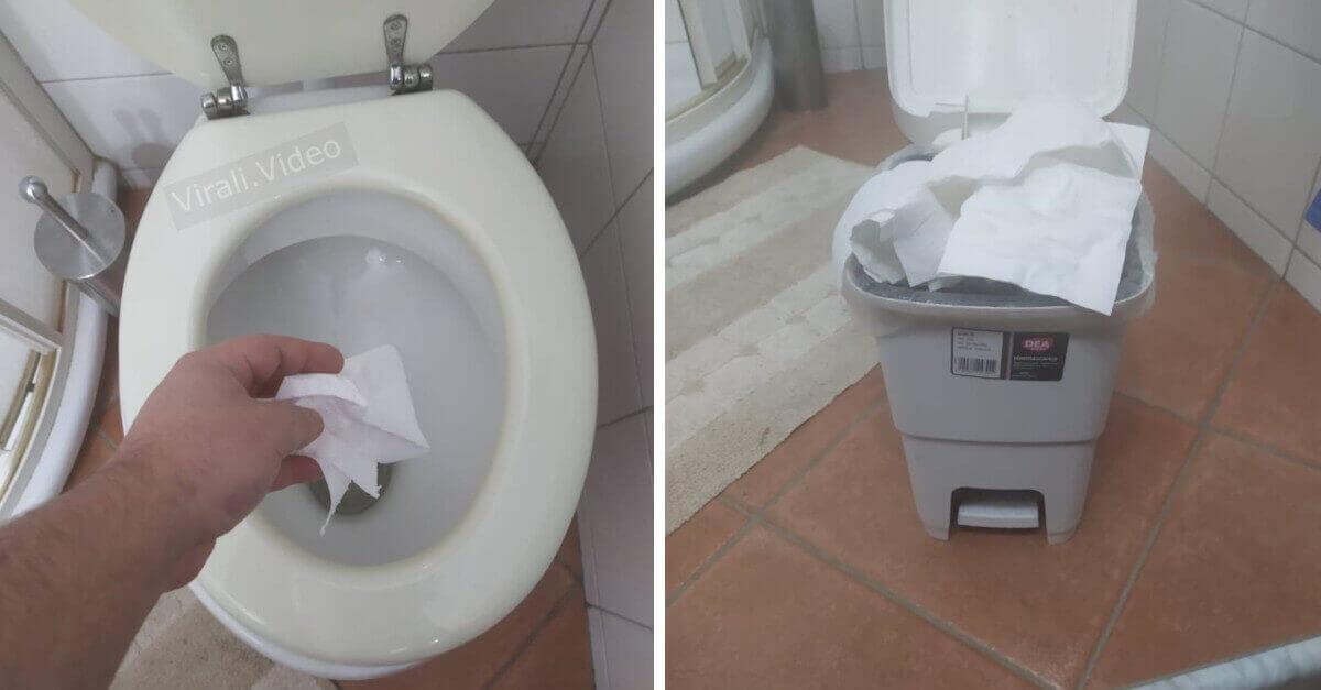 Dove è corretto gettare la carta igienica?