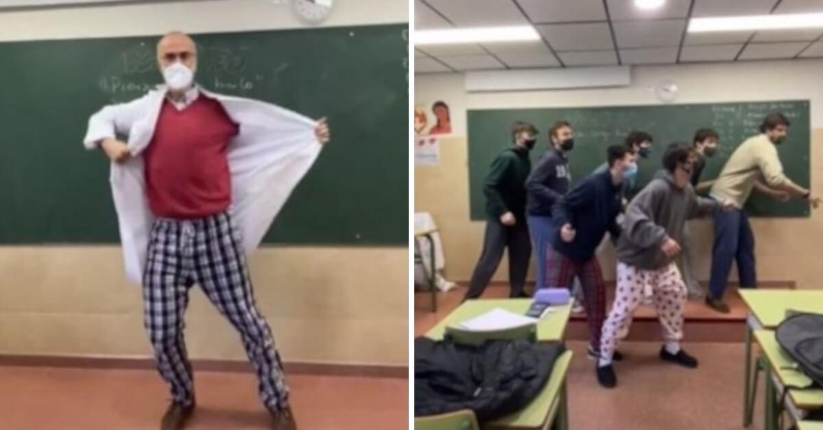 Un insegnante conquista TikTok ballando e dando una lezione in pigiama