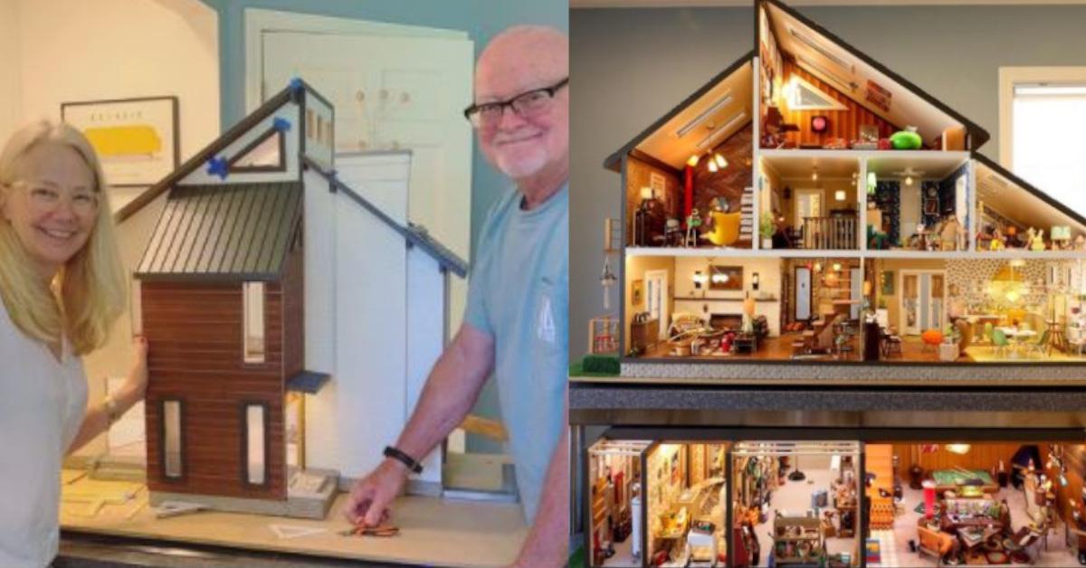 8 foto che mostrano una casa delle bambole da sogno realizzata da una coppia in 2 anni e mezzo di lavoro