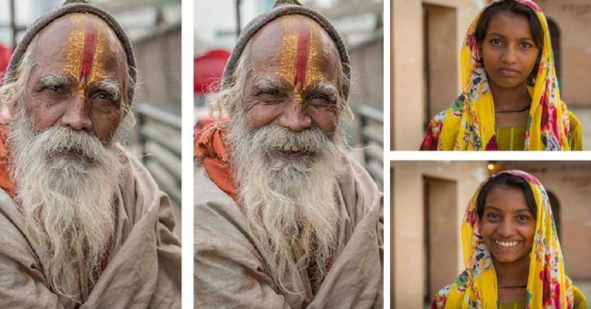 19 foto in cui un fotografo mostra degli sconosciuti prima e dopo averli fatti sorridere