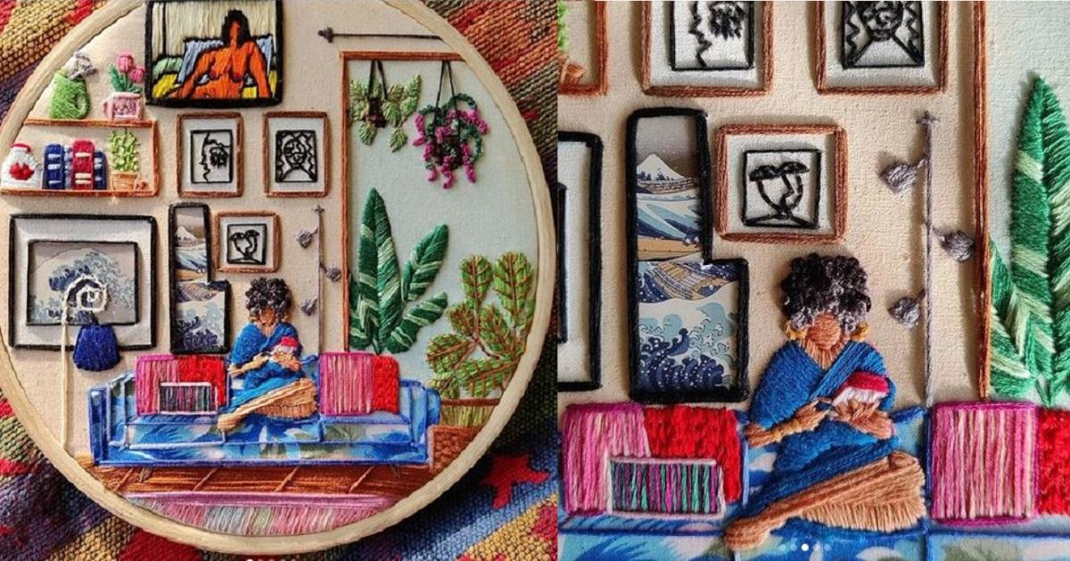 11 telai trasformati ad arte da un'artista che attravero il ricamo racconta delle storie
