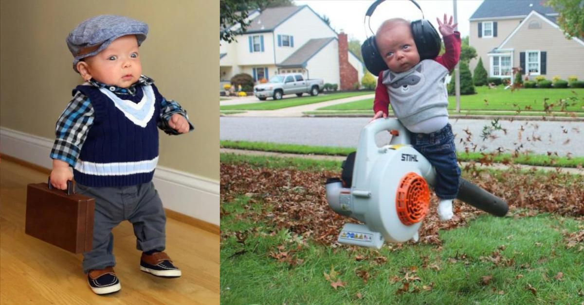 """12 foto di un bambino nato prematuramente che """"fa cose da uomo"""" modificate in maniera simpatica dal papà"""