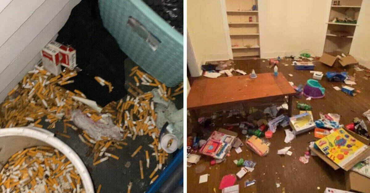 Il proprietario della casa mostra con foto i danni arrecati dagli inquilini in soli 6 mesi