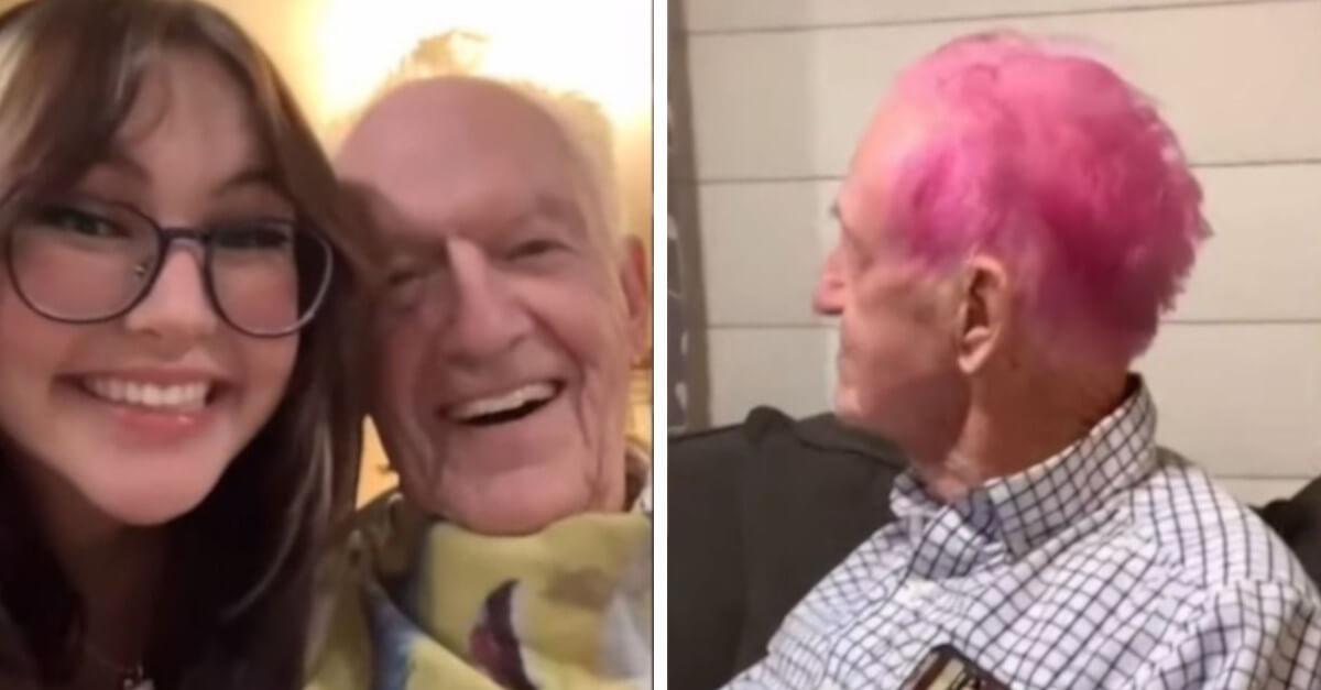 Il nonno si tinge i capelli di rosa per il suo novantesimo compleanno ed il video fa il giro del mondo