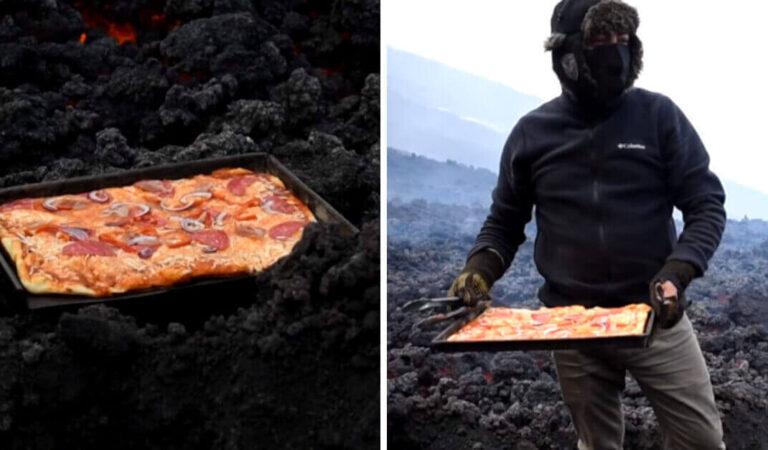 Un uomo in Guatemala prepara pizze sulla lava di un vulcano attivo e invita i suoi amici