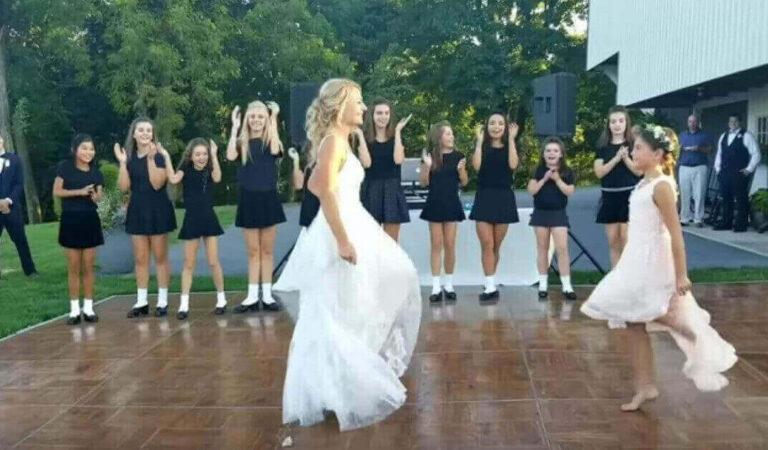 Le ragazze ballano la danza irlandese al matrimonio, poi la sposa si precipita sul palco per un finale epico
