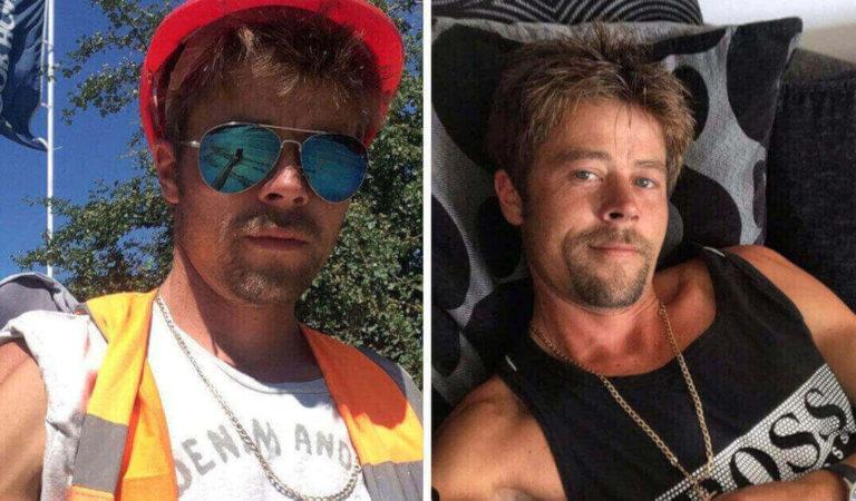 Muratore inglese sorprende tutti per la sua grande somiglianza con Brad Pitt