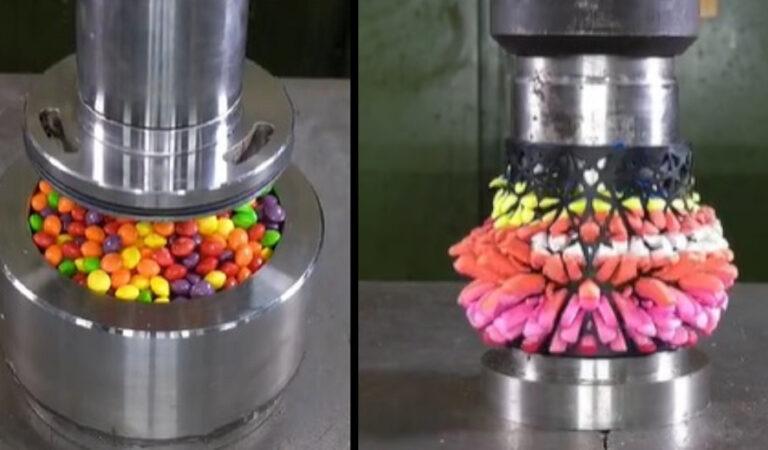 Una distruzione ipnotica: 10 video di oggetti schiacciati da una pressa idraulica che piacciono a tutti