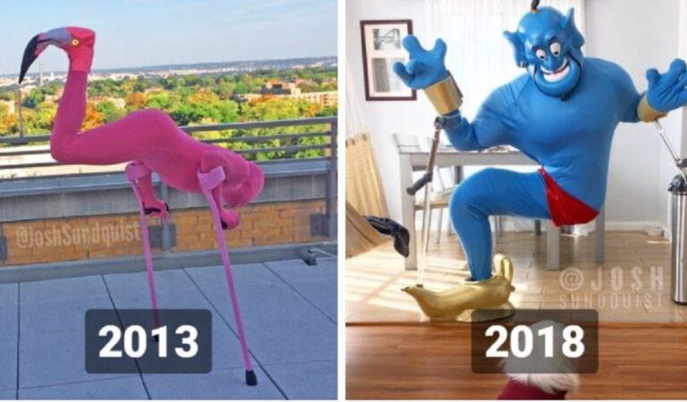 10 travestimenti del famoso comico con una gamba sola, ogni anno sorprende con i suoi costumi di Halloween.
