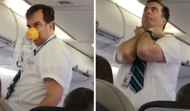 L'aereo si riempie di risate quando l'assistente di volo offre un'esilarante dimostrazione di sicurezza