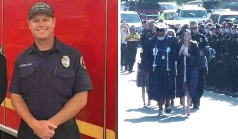 La figlia riceve il diploma indossando la giacca del padre deceduto. 300 dei suoi colleghi, vigili del fuoco, hanno partecipato alla sua laurea