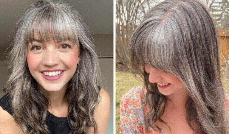 26enne decide di lasciar crescere i suoi capelli grigi dopo aver lottato con loro per anni