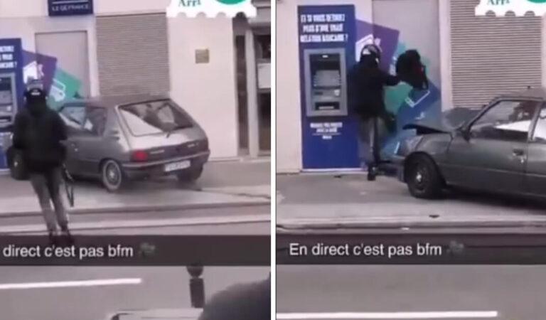 Ladri geniali si schiantano con l'auto contro un bancomat per aprirlo, la macchina si rompe e fuggono senza macchina né soldi
