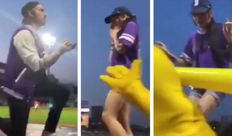 Le fa la proposta durante una partita di baseball, ma lei scappa