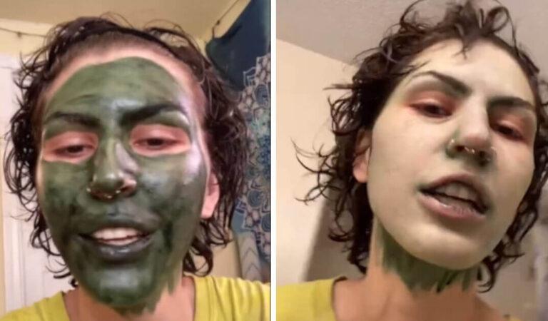 Indossa una maschera alla clorofilla prima di andare al colloquio di lavoro e la sua faccia rimane verde