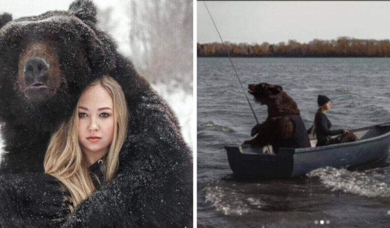 Una donna ha salvato un orso abbandonato da cucciolo e ora sono migliori amici. Vanno anche a pesca insieme