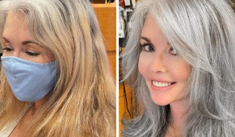 Capelli grigi, luminosi e belli: l'opera del parrucchiere Jack Martin condivisa sui social.