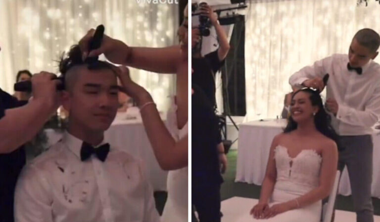 Gli sposi si radono la testa durante il matrimonio per solidarietà alla madre della sposa malata di cancro