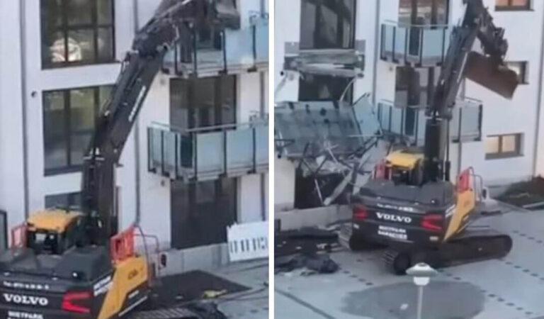 """Un imprenditore distrugge nuovi appartamenti con una scavatrice perché """"doveva ancora dei soldi"""""""