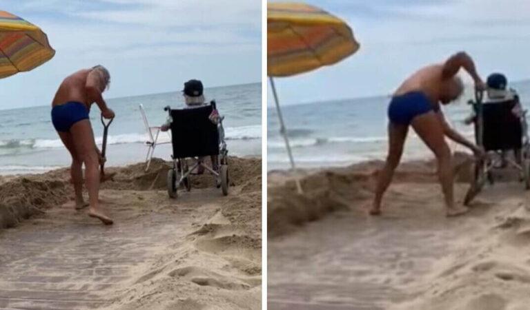 Sua madre è sulla sedia a rotelle e lui ha costruito un sentiero nella sabbia per avvicinarla al mare