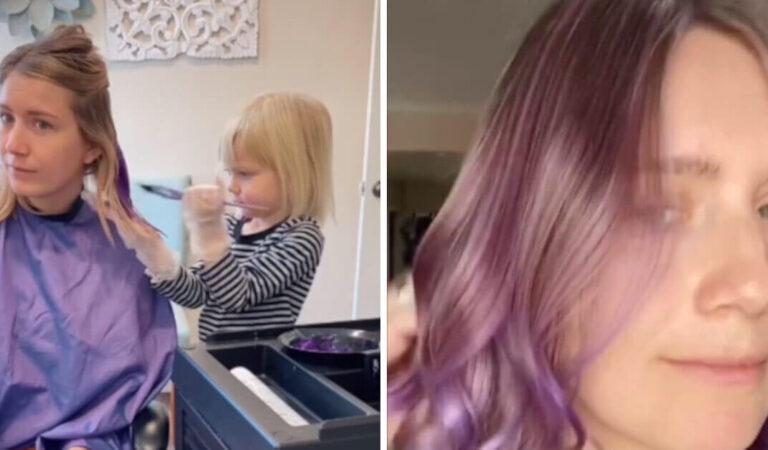 La mamma lascia che sua figlia di 3 anni le tinga i capelli di viola e il risultato diventa virale